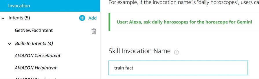 Train Fact Alexa invocation name as shown in the console